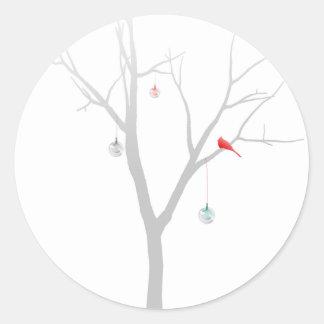 Sparse Christmas Tree Classic Round Sticker