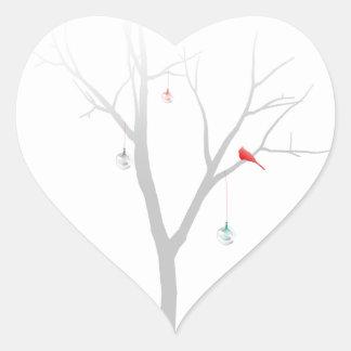 Sparse Christmas Tree Heart Sticker