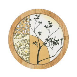Sparse Tree Silhouette by Megan Meagher Round Cheese Board