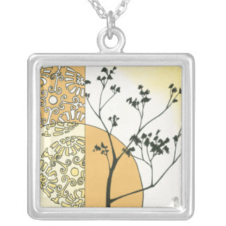 Sparse Tree Silhouette by Megan Meagher Silver Plated Necklace