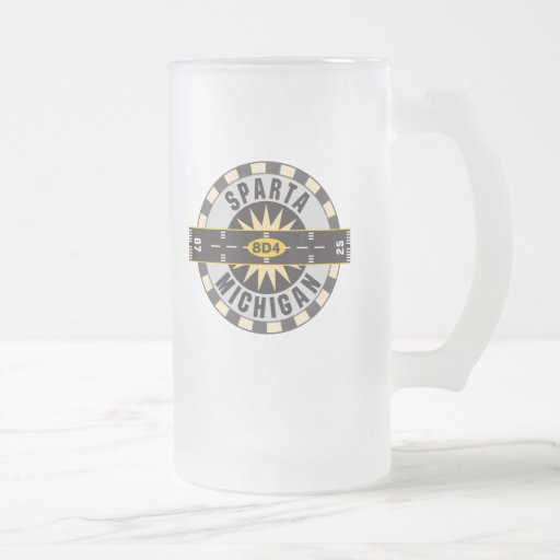 Sparta, MI 8D4 Airport 16 Oz Frosted Glass Beer Mug
