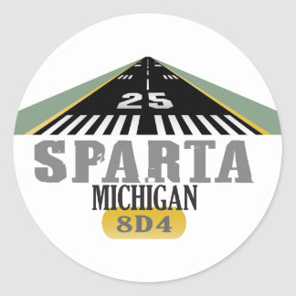 Sparta MI - Airport Runway Classic Round Sticker