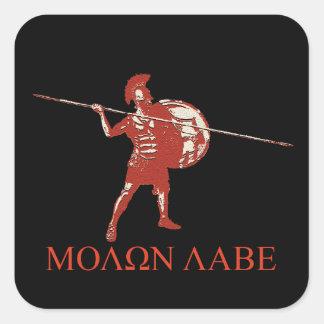 Sparta spartan red square sticker