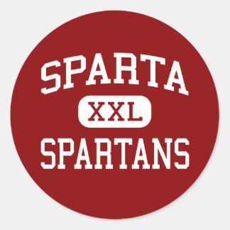 Sparta - Spartans - centro - Sparta Wisconsin Pegatina Redonda