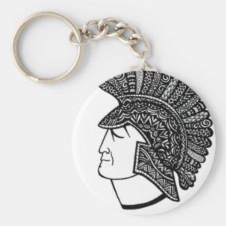 Spartan Head Basic Round Button Keychain