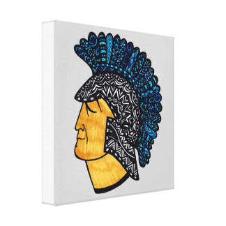 Spartan Head - Blue Canvas Print