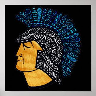 Spartan Head - Blue Poster
