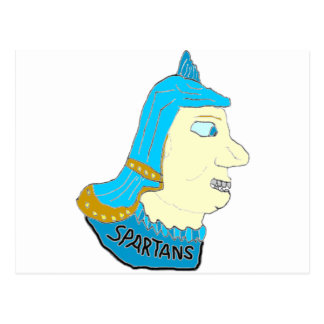 Spartan Head Logo Aqua Brown Yellow Post Cards