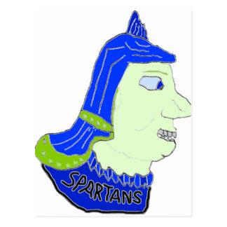 Spartan Head Logo Blue Green Sea Green Post Card