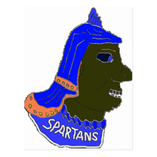 Spartan Head Logo Blue Orange Brown Postcard