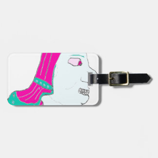 Spartan Head Logo Pink and Light Blue Tags For Luggage