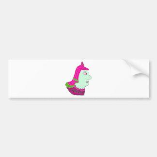 Spartan Head Logo Pink/Green/Sea Green Bumper Sticker