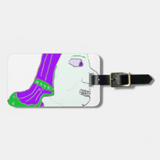 Spartan Head Logo Purple and Sea Green Tag For Bags