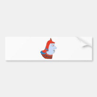 Spartan Head Logo Red/Blue/Aqua Bumper Sticker
