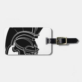 Spartan or trojan helmet bag tag