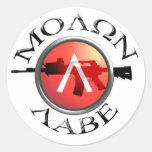 Spartan Shield/AR-15 Molon Labe Round Stickers
