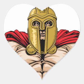 Spartan soldier illustration heart sticker