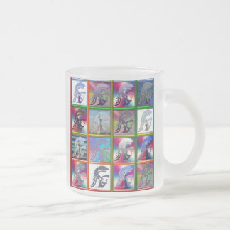 Spartan Solider Collage with Statue of Liberty Frosted Glass Coffee Mug