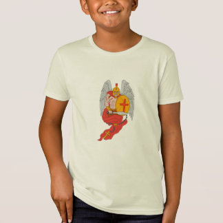 Spartan Warrior Angel Sword Rosary Drawing T-Shirt