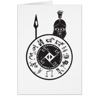 Spartan with Shield Greeting Card