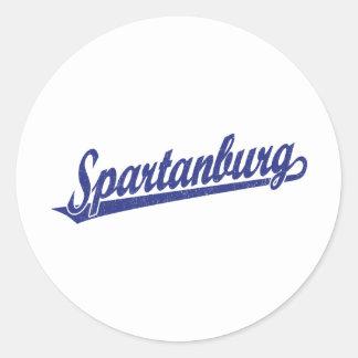 Spartanburg en el azul apenado pegatina redonda