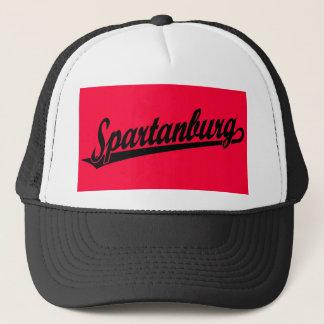 Spartanburg script logo in black trucker hat