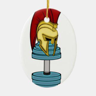 Spartan's helmet on dumbbell ceramic ornament