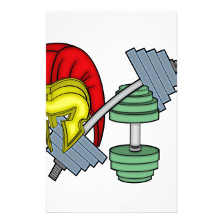 Spartan's helmet on gym equipment stationery