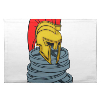 spartan's helmet on weights cloth placemat