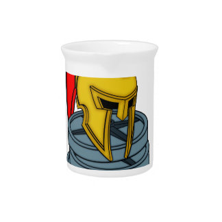 spartan's helmet on weights drink pitcher