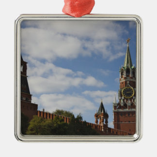Spasskaya Tower in Red Square, Moscow, Russia Square Metal Christmas Ornament
