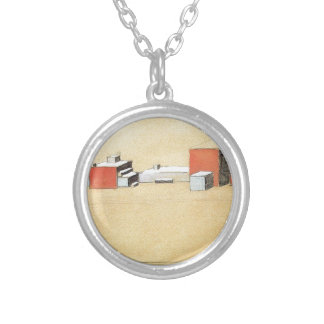 Spatial Suprematism by Kazimir Malevich Silver Plated Necklace