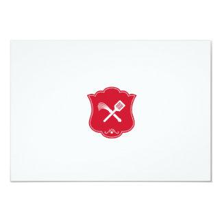Spatula Flogger Whip Crossed Shield Retro Card