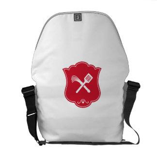 Spatula Flogger Whip Crossed Shield Retro Courier Bag