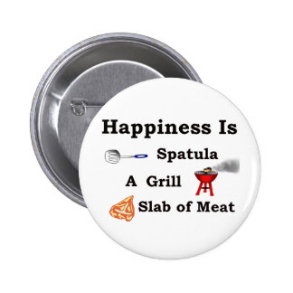 spatula grill and a slab of meat pinback button