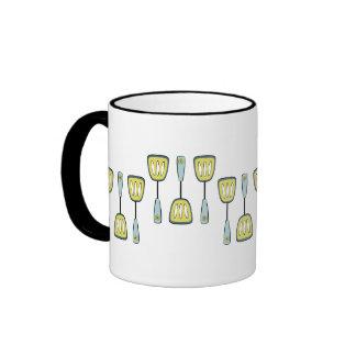 Spatulas Yellow and Aqua Ringer Coffee Mug