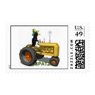 SPATZ ON TRACTER POSTAGE STAMP