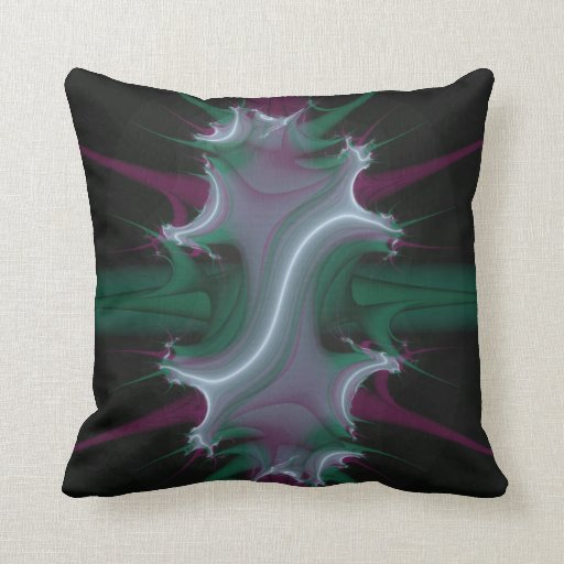 Spawning Crest Fractal green and purple Pillows