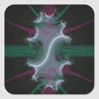 Spawning Crest Fractal green and purple Square Sticker