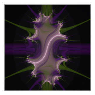 Spawning Crest Fractal purple and green Poster