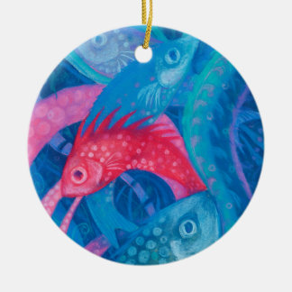 Spawning, fish, underwater art, pastel, blue, pink ceramic ornament