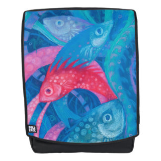 Spawning, fishes, underwater art, blue, pink, mint backpack