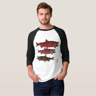 Spawning Salmon - 3/4 Sleeve Raglan T-shirt
