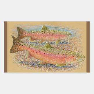 Spawning trout rectangular sticker