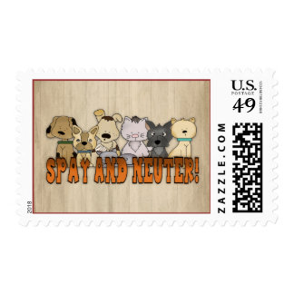 Spay and Neuter Cats and Dogs Cute Pet Postage Stamp