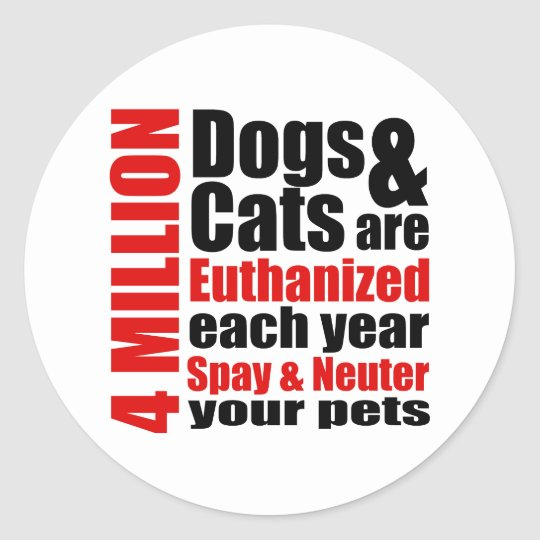 Spay and Neuter Your Pets Classic Round Sticker