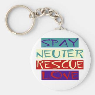 Spay el amor neutral del rescate llavero redondo tipo pin