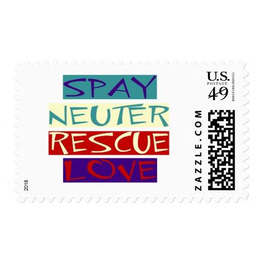 Spay el amor neutral del rescate timbre postal