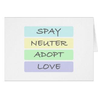 Spay el neutro adoptan amor tarjeta de felicitación