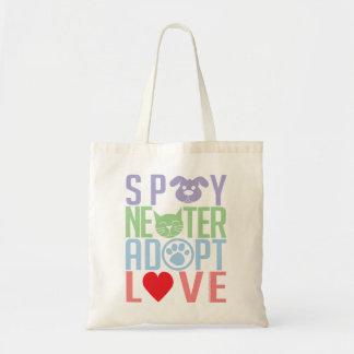 Spay el neutro adoptan el amor 2 bolsa tela barata